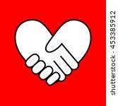 handshake in form of heart on... | Shutterstock .eps vector #453385912