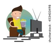 man watching television on... | Shutterstock .eps vector #453403498