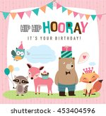 birthday card with cute cartoon ... | Shutterstock .eps vector #453404596