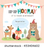 birthday card with cute cartoon ... | Shutterstock .eps vector #453404602