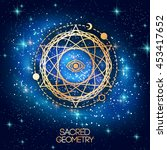 sacred geometry emblem with eye ... | Shutterstock .eps vector #453417652