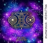 sacred geometry emblem with... | Shutterstock .eps vector #453417766