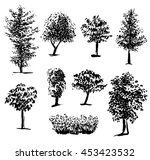 silhouette of trees set 1  ink... | Shutterstock . vector #453423532