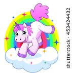cheerful cartoon pink unicorn... | Shutterstock .eps vector #453424432