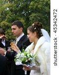 happy bride and groom   Shutterstock . vector #45342472