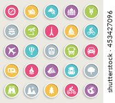 travel icons on color buttons. | Shutterstock .eps vector #453427096