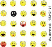 set of 25 smiley faces  in... | Shutterstock .eps vector #45343414