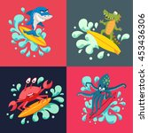 surfer cool monsters on wave.... | Shutterstock .eps vector #453436306