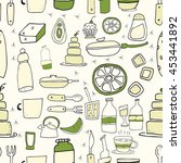 seamless pattern with bottles ... | Shutterstock .eps vector #453441892