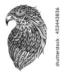 patterned head of eagle black... | Shutterstock .eps vector #453443836