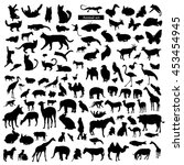 Stock vector set of animals silhouettes 453454945