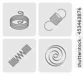 set of monochrome icons with... | Shutterstock .eps vector #453463876