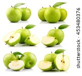 set of green apple fruits with... | Shutterstock . vector #453480376