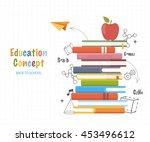 education concept . stack books ... | Shutterstock .eps vector #453496612