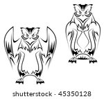 owl tattoo in two variations on ... | Shutterstock .eps vector #45350128