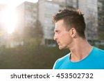 portrait of young man doing... | Shutterstock . vector #453502732