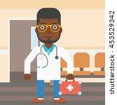 an african american doctor in... | Shutterstock .eps vector #453529342