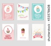 greeting card  birthday ... | Shutterstock .eps vector #453578608