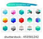 vector artistic geometric set.... | Shutterstock .eps vector #453581242
