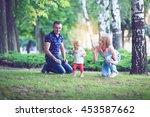 happy family having weekend in... | Shutterstock . vector #453587662