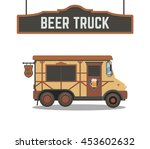 beer truck.vector cartoon car. | Shutterstock .eps vector #453602632