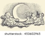 night sky vector  moon in the... | Shutterstock .eps vector #453602965