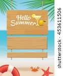 summer wooden sign on tropical... | Shutterstock .eps vector #453611506