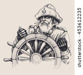 portrait of a sailor vector... | Shutterstock .eps vector #453612235