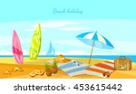 summer holiday sunset beach... | Shutterstock .eps vector #453615442