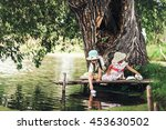 children rest and play on the... | Shutterstock . vector #453630502