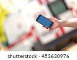 people hand with smartphone...   Shutterstock . vector #453630976