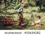 the little girls gardener... | Shutterstock . vector #453634282