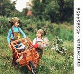 the little girls gardener... | Shutterstock . vector #453634456