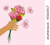 hand with roses   organic heart ... | Shutterstock .eps vector #45363517