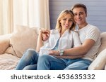 beautiful young couple in... | Shutterstock . vector #453635332