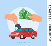 car sale illustration. customer ... | Shutterstock . vector #453639676