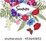 vintage frame with garden... | Shutterstock .eps vector #453640852