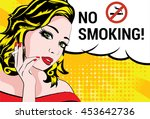 pop art woman with cigarette.... | Shutterstock .eps vector #453642736