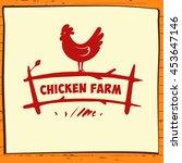 hand drawn hen. vector logo... | Shutterstock .eps vector #453647146