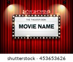 theater sign on curtain and... | Shutterstock .eps vector #453653626