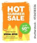 hot summer sale. melting ice... | Shutterstock .eps vector #453658336