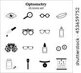 vector black optometry icon set....   Shutterstock .eps vector #453659752