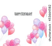 watercolor happy birthday card. ... | Shutterstock . vector #453664582