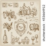 wine. vintage set | Shutterstock .eps vector #453664912