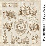 wine. vintage set | Shutterstock .eps vector #453664912