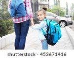 parent taking child to school   Shutterstock . vector #453671416