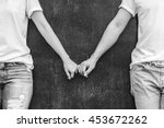 two love couples hold hand... | Shutterstock . vector #453672262