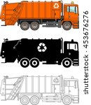 different kind garbage trucks... | Shutterstock .eps vector #453676276
