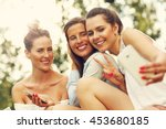 picture presenting happy group... | Shutterstock . vector #453680185