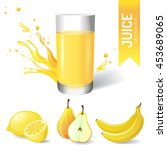 juice in glass and fruits icons | Shutterstock . vector #453689065